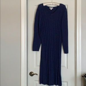 Coldwater Creek navy cotton sweater dress